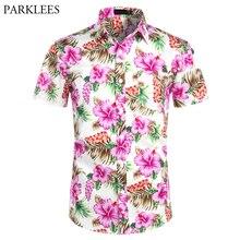 Hawaii gömlek erkek tropikal pembe çiçek plaj gömlek yaz kısa kollu tatil giyim rahat Hawaii gömlek erkekler abd boyutu XXL