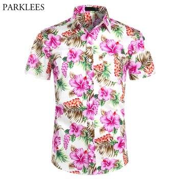 Hawaiian Shirts Mens Tropical Pink Floral Beach Shirt Summer Short Sleeve Vacation Clothing Casual Hawaii Shirt Men USA Size XXL bob dong men s vintage wdf floral printed summer hawaii shirt short sleeve retro pattern beach casual hawaiian shirts for luau