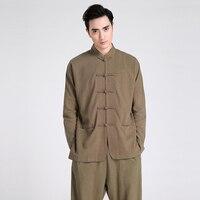 Vintage Army Green Chinese Male Long Sleeve Casual Shirt Men's Cotton Linen Kung Fu Wu Shu Shirt S M L XL XXL XXXL 2601