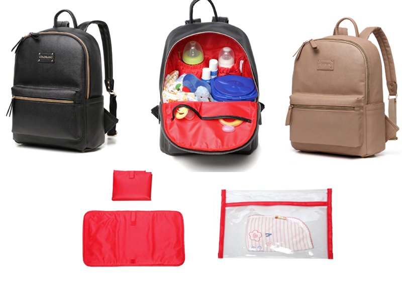 Fashion PU Leather Backpack Multi function Baby Changing Diaper Bag Changing Pad BP123