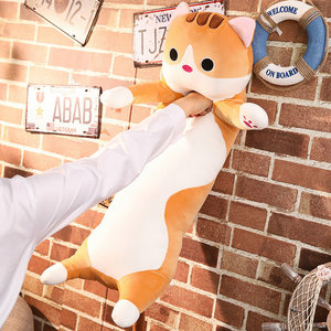 Image 4 - 1pc 65/90cm long Cat Pillow Plush toy soft cushion stuffed animal doll sleep Sofa Bedroom Decor Kawaii Lovely gifts for kids