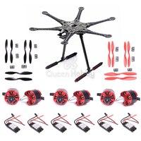 S550 Hexacopter Frame Kit With Landing Gear 2212 920kv / 1000kv Motor 30A ESC 1045 Propeller for PFV Photography Drone