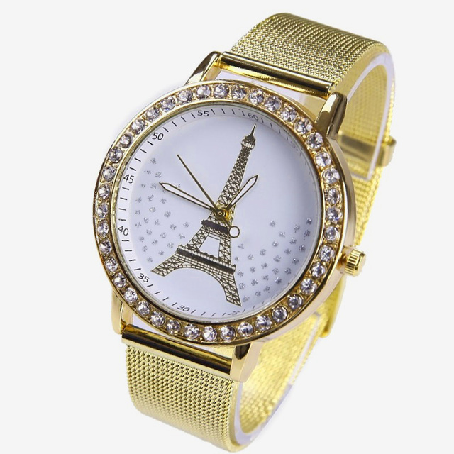 54b6c11192c7 Gnoval platino Top metal mujeres reloj Eiffel cristal estrellas dial reloj  de reloj párr dama Ginebra