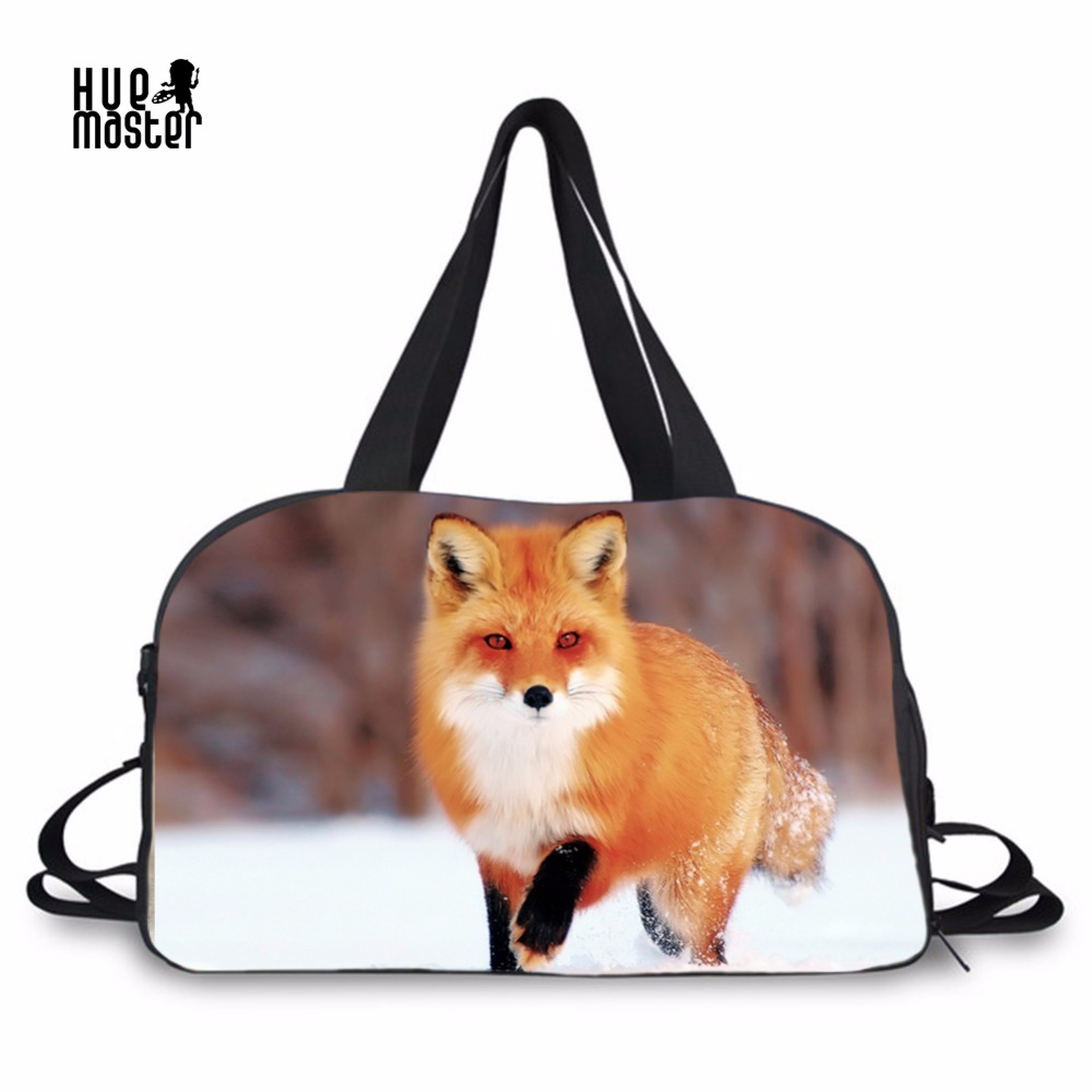 HUE MASTER Men Travel Bags Fox Canvas Duffle Bag High Capacity Crossbody Independent Shoe Pocket Women Casual Shoulders Totes