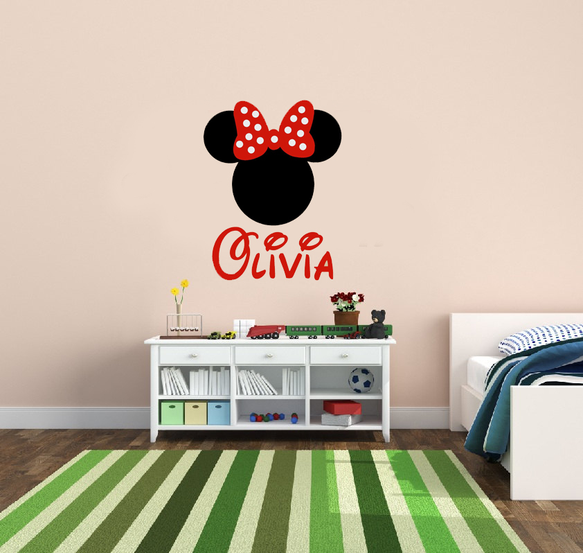 Personalized Minnie Mouse with bow design vinyl Wall Decals,girls ...