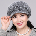Lady Rabbit Hair Cap Elderly Mother Bonnet Cap Middle-aged Mother Winter Warm Hat Elder Fashion Beret Cap B-4601