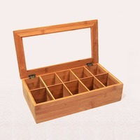 Cyanbamboo Wooden Tea Storage Box Organizer High Quality Home Bamboo Tea Bag Organizer Desk Organizer Boite De Rangement