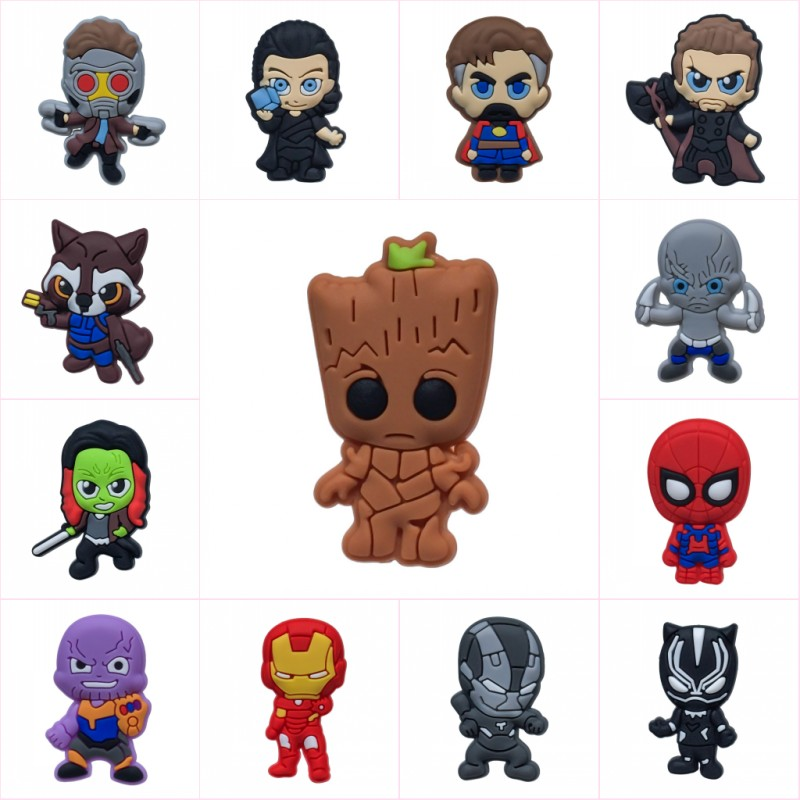1pcs Avenger 3 Cartoon PVC Shoe Charms Hot Movie Action Figure Buckles Accessories Fit Bracelets Croc JIBZ Kids Party Gifts(China)