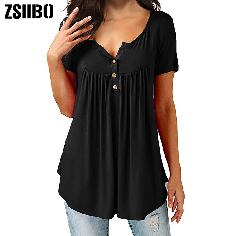 01cff7829c2 ZSIIBO Womens Tops V Neck T-Shirts Swing Ruffle Button up Tunic Casual  Flowy Loose