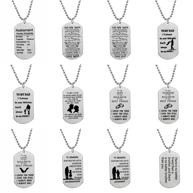 Stainless Steel Dog Tag Retirement To My Son Dad Love Wife Husband Grandpa  Brother Beaded Necklace