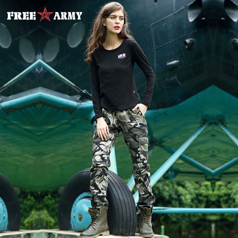 FREEARMY Autumn Pants Women Boots Pants Winter Military Camouflage Trousers Women's Bottoms Elastic Waist Ankle-length Pants