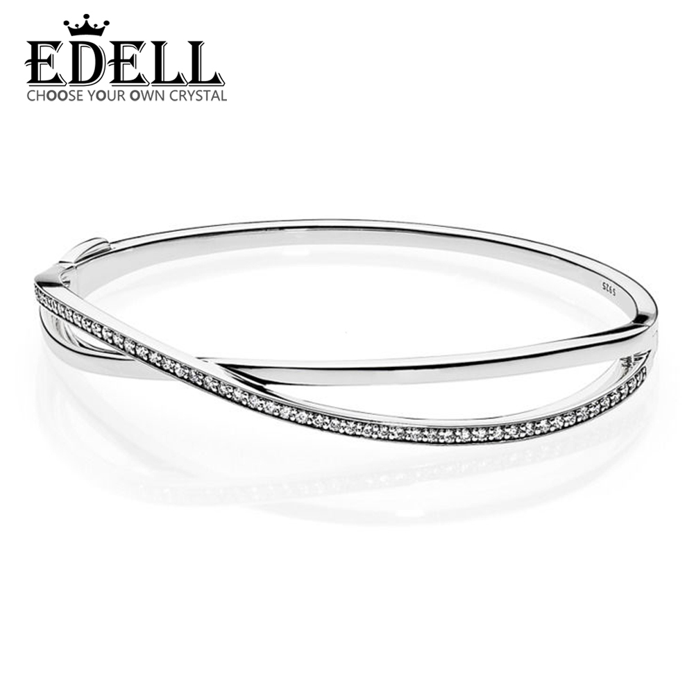EDELL Authentic 925 Sterling Silver Double ring crystal Bangle DIY Bracelet  Fit European Charms Beads Women Birthday Gift 8019