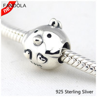 Chicken Silver Bead Charm With Clear CZ 925 Sterling Silver Fit European Bracelet Bead For Women