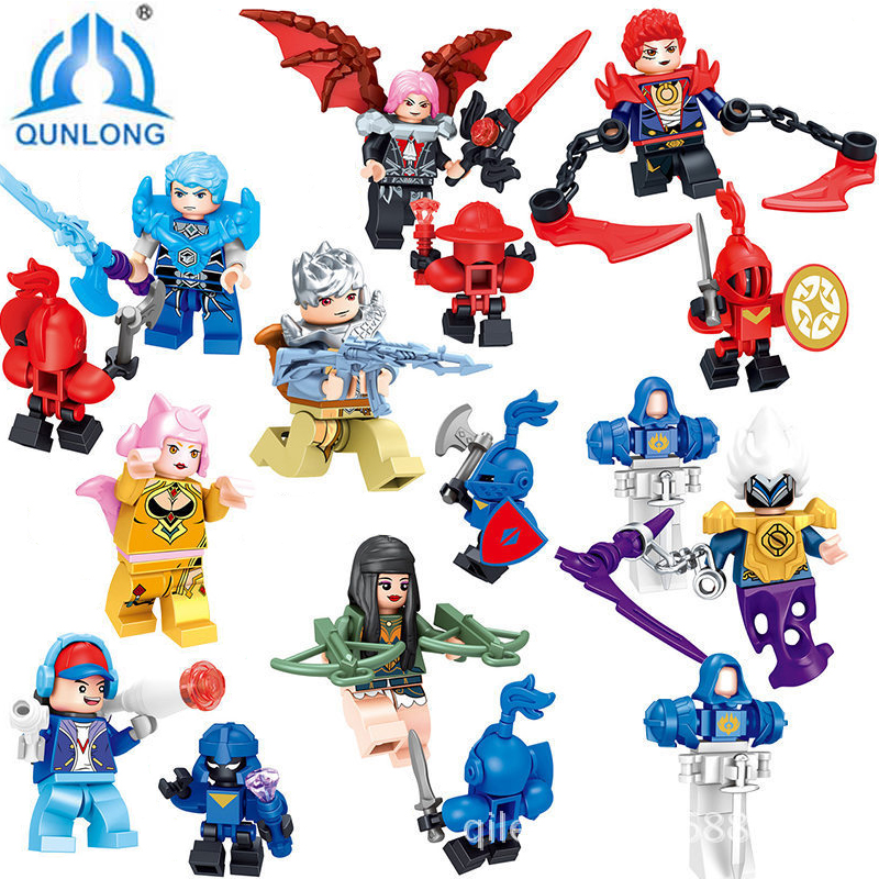 Qunlong 8 PCS Game King Of Glory Figure Action Model Building Blocks Brick Toys Boys Educational Toys Children's Christmas Gift wisehawk nano star wars yoda building blocks big size characters figure educational toys diy assembly micro brick christmas gift