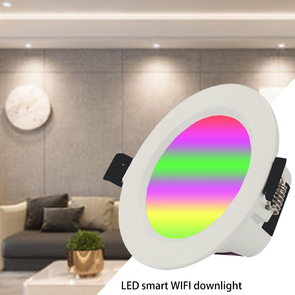 LED Downlight Smart WiFi Ceiling Light APP Remote Control Light 7W RGBW Compatible With Tmall Genie Alexa Amazon Google Home|LED Downlights| |  - title=