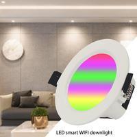 LED Downlight luz LED inteligente de techo con wi-fi APP luz con control remoto 7W RGBW Compatible con Tmall genio Alexa Amazon Google