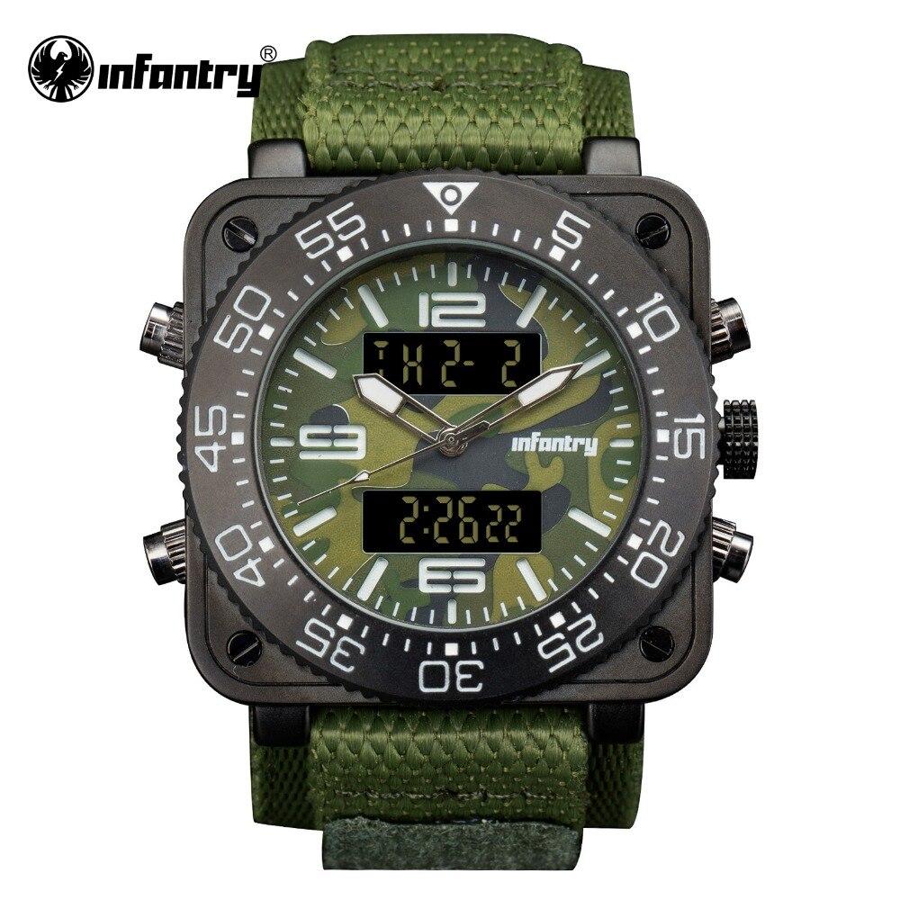 Military Digital Quartz Wristwatch   Army Big Square Sport Green Nylon