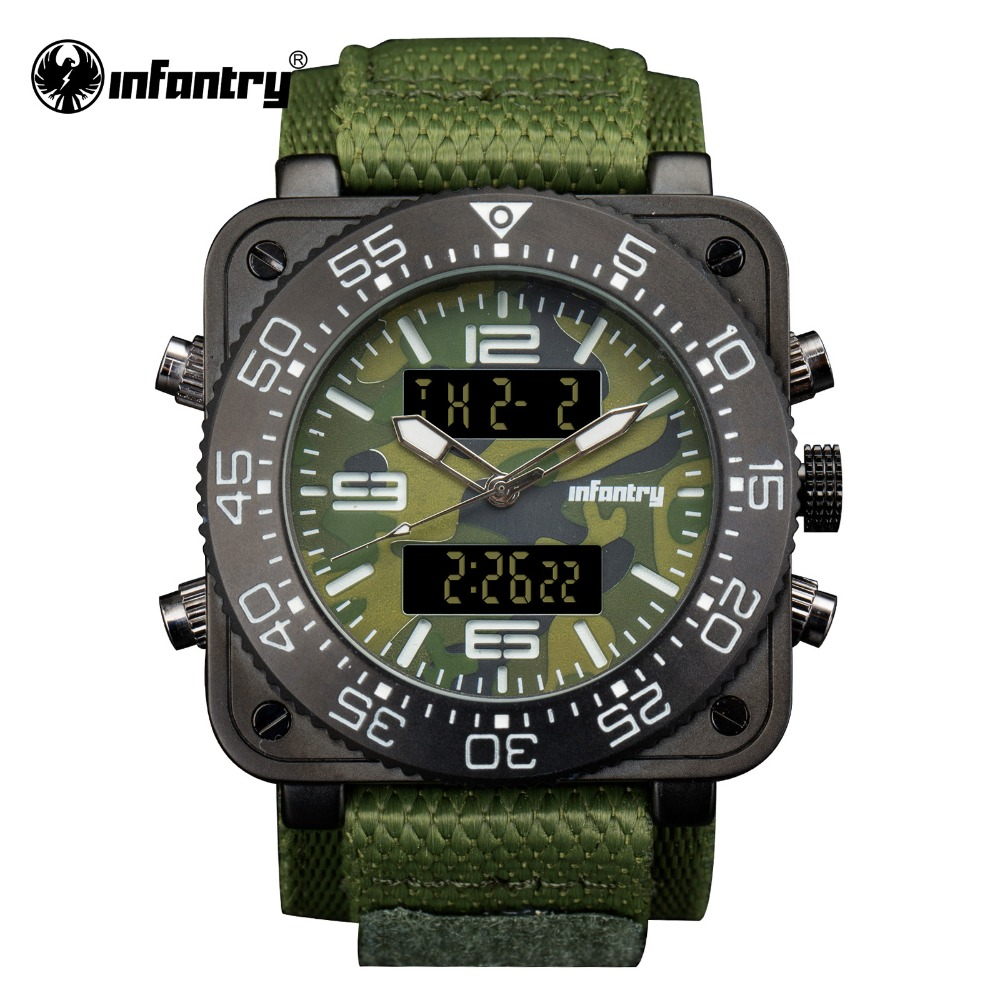 INFANTRY Military Watch Men Digital Quartz Wristwatch Mens Watches Top Brand Army Big Square Sport Green Nylon Relogio Masculino infantry military watch men square digital led wristwatch mens watches top brand tactical army sport nylon relogio masculino