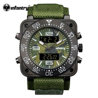 INFANTRY Military Watch Men Digital Quartz Wristwatch Mens Watches Top Brand Army Big Square Sport Green Nylon Relogio Masculino