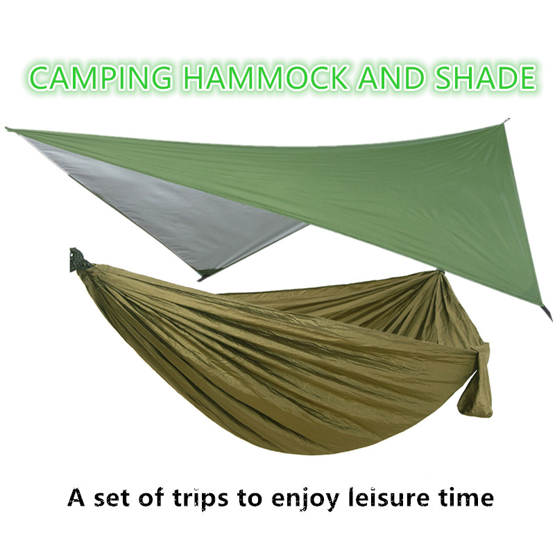 Outdoor Rain Fly Tarp and Camping Hammock Portable Hammock Canopy Lightweight Nylon Hammocks and Sun Shelter Outdoor Furniture