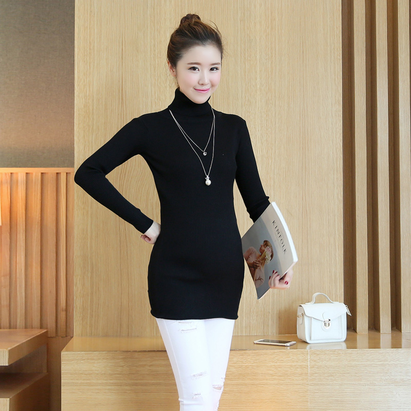 fcae438171eff 1795# High Neck Side Splits Knitted Maternity Sweaters Autumn Winter  Fashion Clothes for Pregnant Women Pregnancy Pullovers Tops