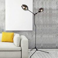 Современный простой алюминиевый сплав магния дизайн СВЕТОДИОДНЫЙ торшер Nordic Творческий magic bean стеклянные украшения спальни E27 освещения