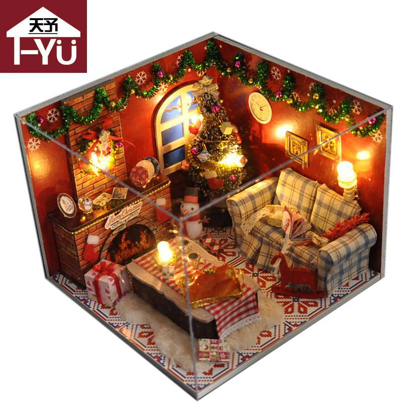 Christmas Dollhouse Decorations.Home Decoration Crafts Diy Doll House Wooden Doll Houses Miniature Diy Dollhouse Furniture Kit Room Led Lights Gift 1411tw8