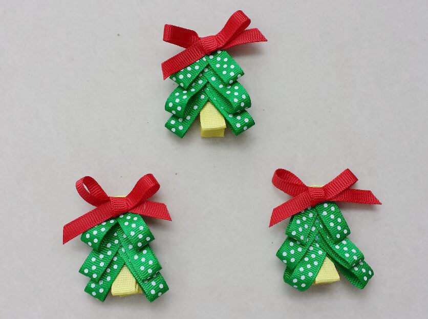 20pcs 2inch Christmas Tree Hair Clip Accessories Kids Bows Flower Alligator Clips Girls Headband Xmas Renda Bowknot HD3270 In From Mother