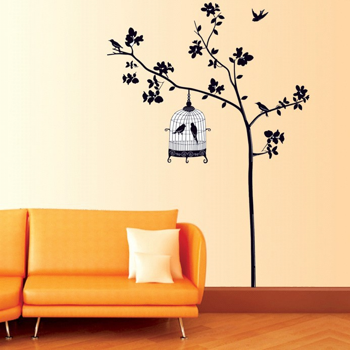 New Tree Birds Cage Wall Art Large Removable Wall Decal Sticker | eBay