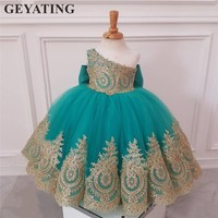 Turquoise Blue One Shoulder Flower Girl Dresses For Weddings Gold Lace Ball Gown Kids Evening Gown Girls First Communion Dress