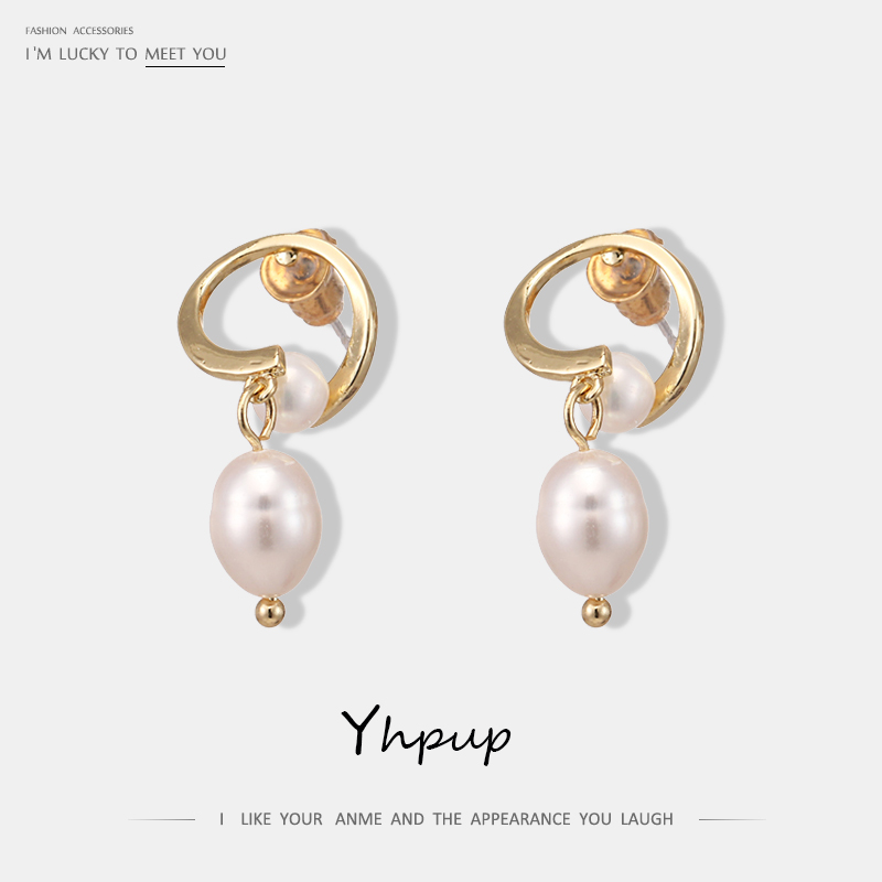 Yhpup Trendy Korean Exquisite Geometric Copper Dangle Earrings Elegant Natural Pearls Earrings for Female Wedding Party Jewelry