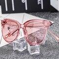 Grande cara cat eye shades óculos de sol das mulheres de grandes dimensões da mulher cateye óculos de sol para senhoras óculos de marca clara transparente 2017