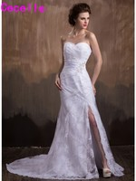 Sexy Long Mermaid White Lace Wedding Dresses 2017 New Vintage Country Bridal Gowns With Slit Robe