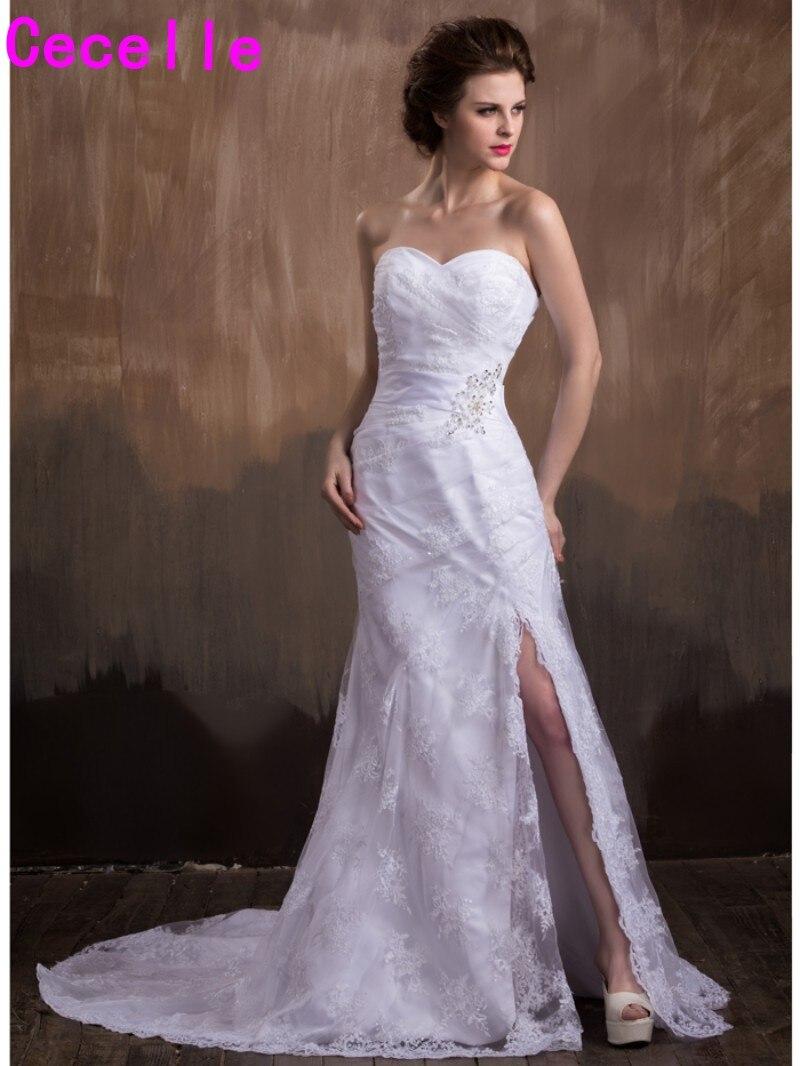 Sexy Long Mermaid White Lace Wedding Dresses 2019 New