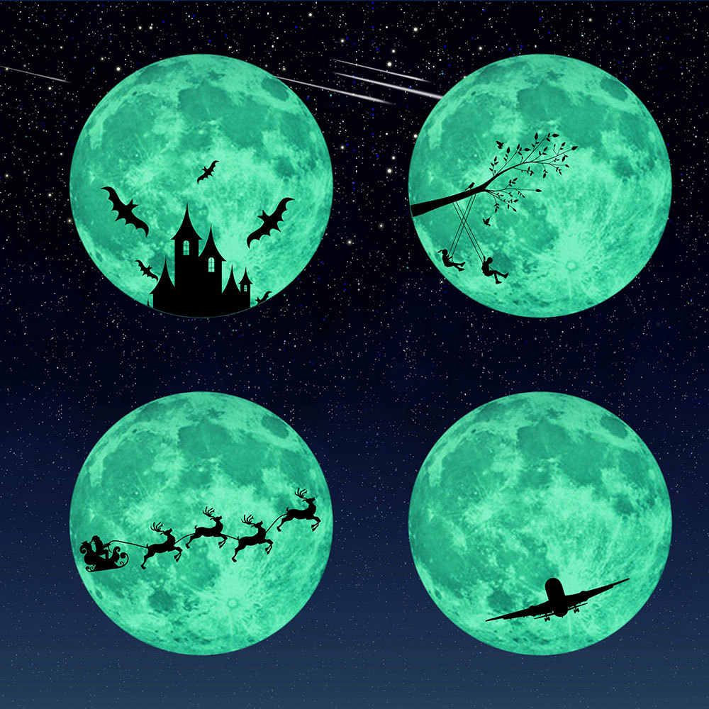 30cm 3D Luminous Wall Stickers Glowing Moon Stiker for Kids Rooms Decal Baby Bedroom Home Decor Fluorescent Wall Stickers