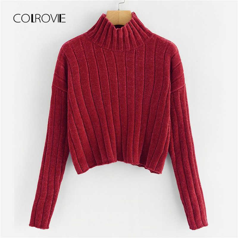 42a85586c COLROVIE Black High Neck Crop Female Sweater Ladies Autumn 2018 Ginger  Girls Pullover Winter Jumper Sweaters