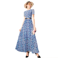 Vintage Chiffon Summer Long Dress Short Sleeve Beach Style Dress Flowers Print Evening Clothing Ankle Length DZ2138