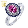 GemStoneKing 1.60 Ct Oval Zafiro Rosa Anillo de Halo Sólida Plata de ley 925 Anillo de La Vendimia de Las Mujeres