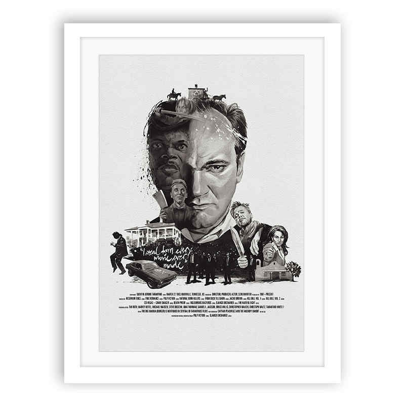 Neutral Black and White Famous Director Quentin Tarantino Oil Painting Modern Wall Art Home Decoration