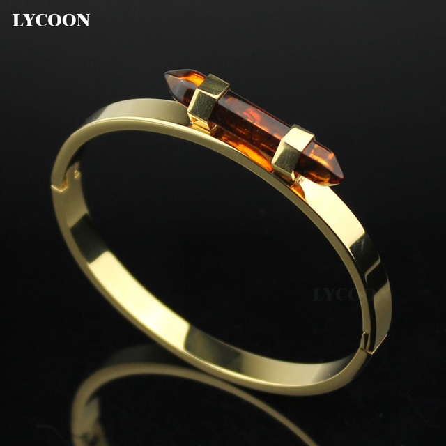 LYCOON Newest fashion women crystal nail bracelets bangle 316L stainless steel plated yellow gold color bangles bracelet