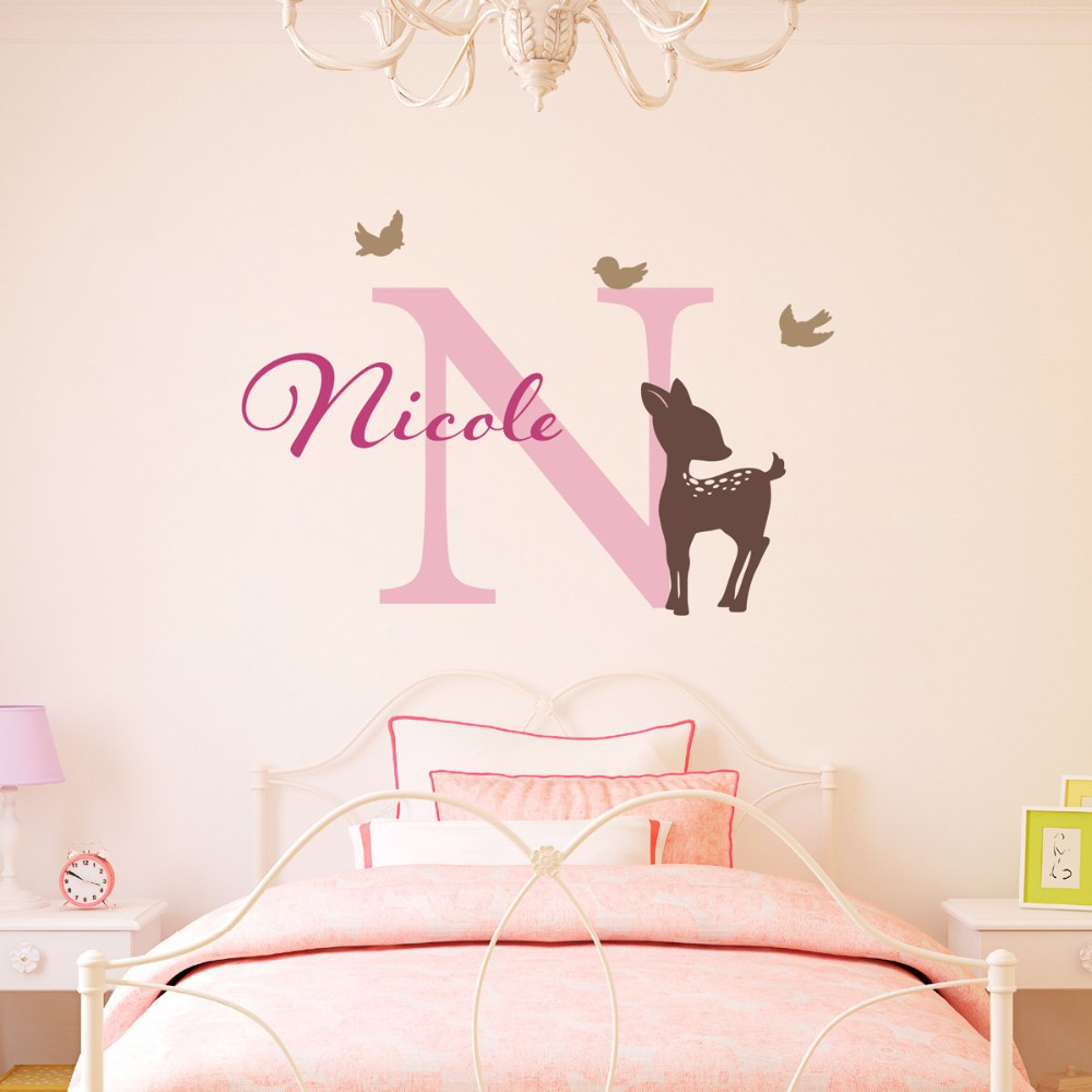 Custom Name Kids Bedroom Decoration Little Deer Cute Pattern With Birds Wall Sticker Children Poster Mural Decals Decor W277 in Wall Stickers from Home Garden