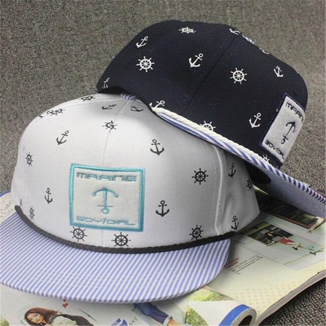 19ff50879351 € 8.97 |Ancla bordado Hip Hop ala plana gorra de béisbol sombreros óseas  para mujeres hombres Snapback Gorras Planas sol deportes sombrero de ...