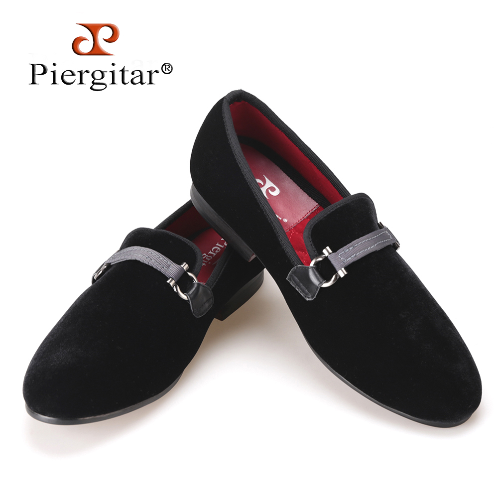 Fabric Buckle Handcraft Men Black Velvet shoes Men Smoking Slipper and Fashion Party Loafers Plus size Men Flats Size US 4-17 flower lattice velvet fabric men shoes men smoking slipper prom and banquet male loafers men flats size us 4 17 free shipping