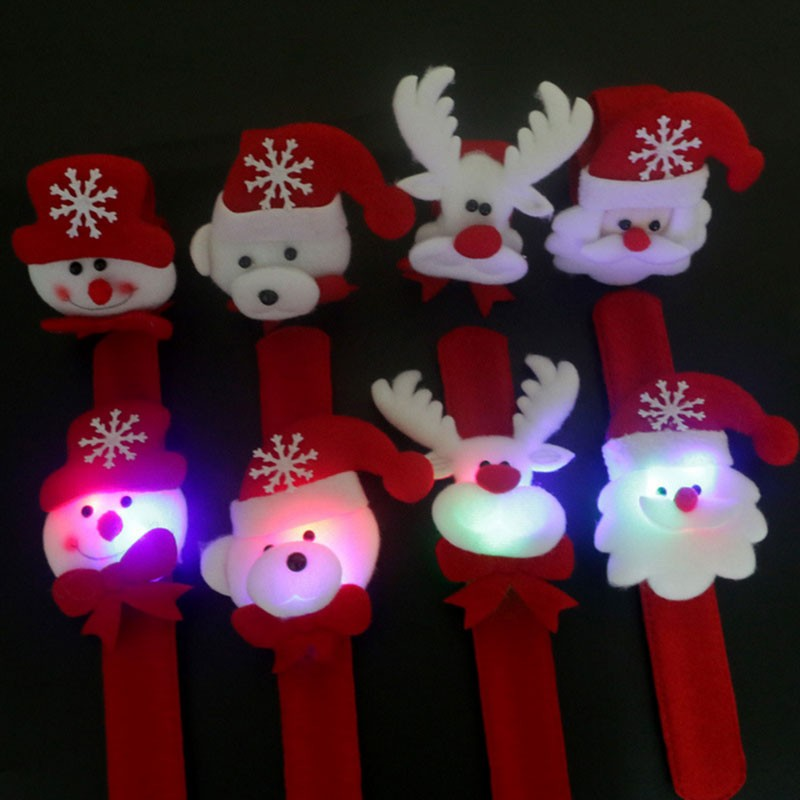 1x Creative Santa Claus childrens flash glow luminous wrist band Christmas/New Year party gift toys Party supplies