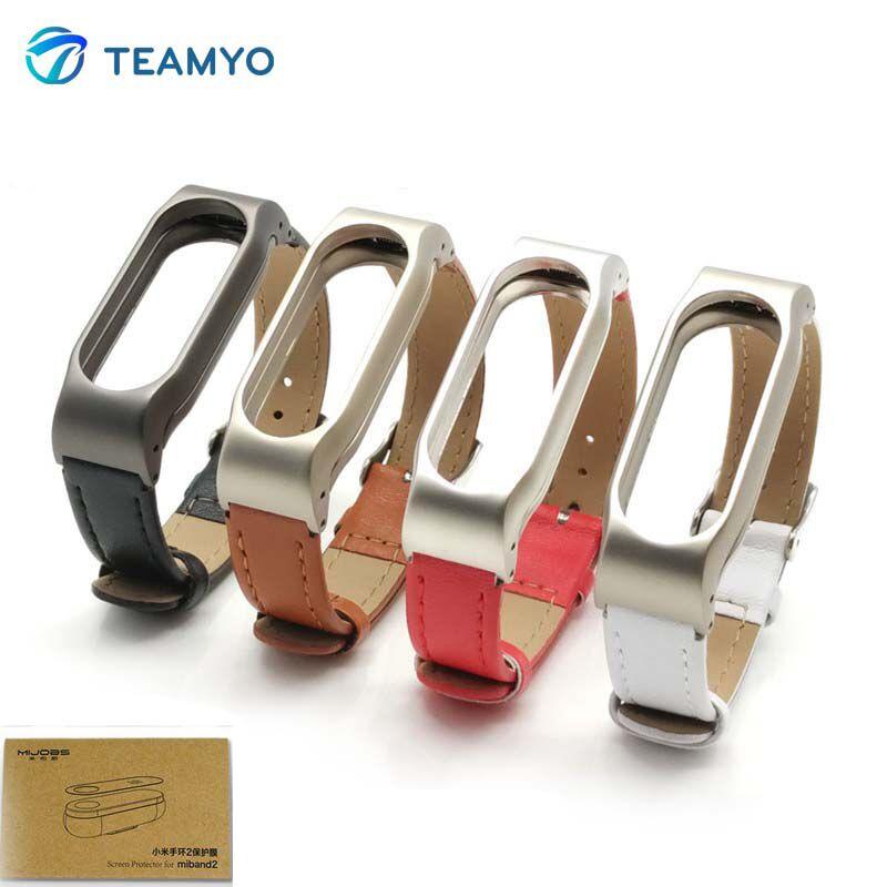 Teamyo Pour Pulsera Xiaomi Mi Bande 2 Sangle Pour Mi bande 2 En Cuir xiaomi bande 2 bracelet Remplacement Accessoires miband 2 sangle