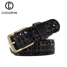 Hot 2017 New Fashion Casual Knitted Mens Belt Luxury Genuine Leather  Braided Cow Skin Straps Men Jeans Wide Girdle Male BZ001