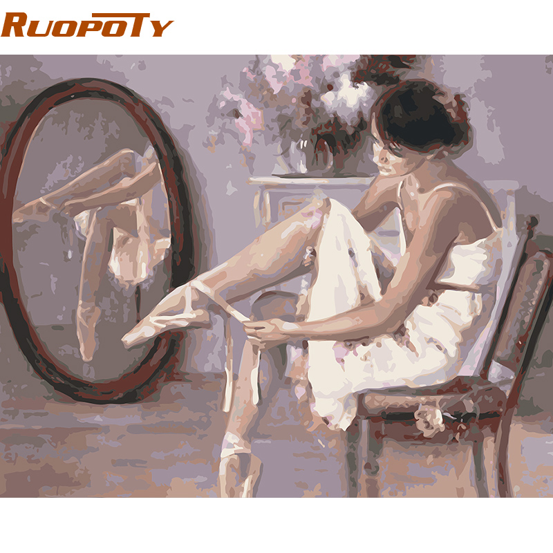 RUOPOTY Ballet Dancer Diy Painting By Numbers Modern Hand Painted Canvas Oil Painting Home Wall Art Picture Room Decoration 4050