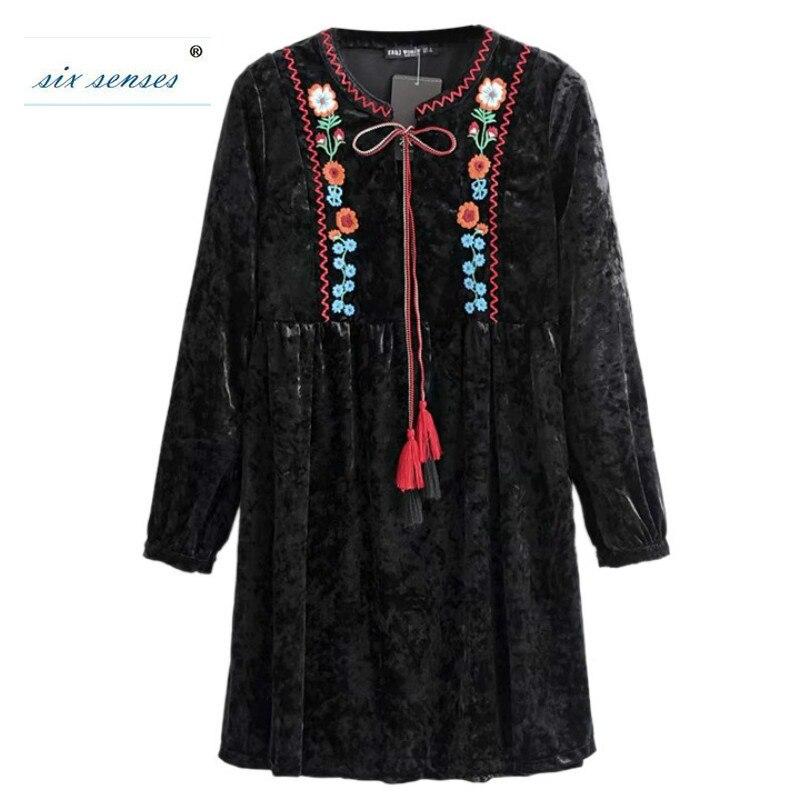 Six sens 2018 printemps femmes nouvelle robe de Style Folk-personnalisé femmes lâche manches longues velours broderie Floral Mini robes HLM0106