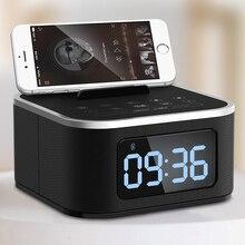 EAAGD Bedside Mini LED Alarm Clock Bluetooth Speaker Stereo Music Player FM Radio USB Port Charging AUX Slots For phone/ tablet