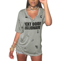 Women T Shirt European And American Style Summer Fashion Sexy Long Tops Hole Letters Printed T